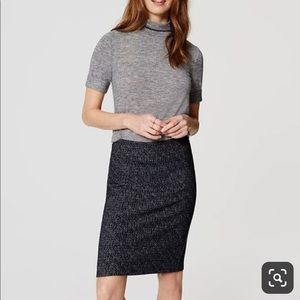 NWT Loft Speckle Knit Pull On Pencil Skirt Blue